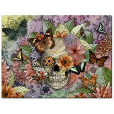 Butterfly Floral Skull - Canvas Print- Solid Surface - Sugar Skull Art - Butterfly Botaniskull - Fusion Idol - Art and Gifts by Artist Christopher Beikmann - 1