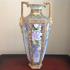 "Beautiful Antique (late 1800's -1920's) Nippon 12"" Tall Vase Beaded Hand Painted"