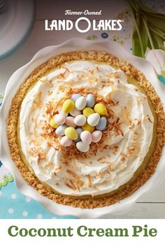 A cute candy topping makes this Coconut Cream Pie an egg-cellent dessert for Easter! Get the recipe now. Desserts Ostern, Fun Desserts, Delicious Desserts, Dessert Recipes, Yummy Food, Recipes Dinner, Easter Recipes, Holiday Recipes, Yummy Treats