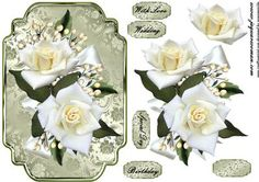 White Roses on Craftsuprint designed by Marijke Kok - beautiful,classic design for any occasion, birthday,wedding,special.... - Now available for download!