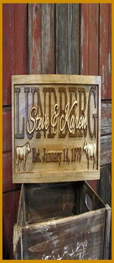 Our DIY decorative wood indications are the ideal individualized touch to make your home a house. #woodwork #Products... Carved Wood Signs, Diy Wood Signs, Custom Wood Signs, Making Signs On Wood, Family Name Signs, Personalized Signs, Pattern Art, Cow, Woodworking
