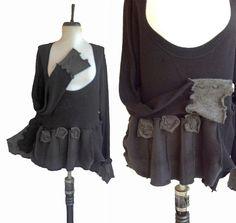 Asymmetric Floral lagenlook Sweater XXL 2x by RebeccasArtCloset