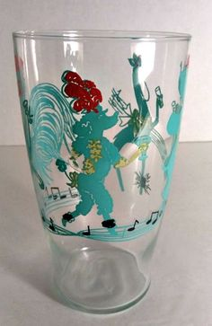 Vintage 1950s Circus Party Animals Drinking Glass