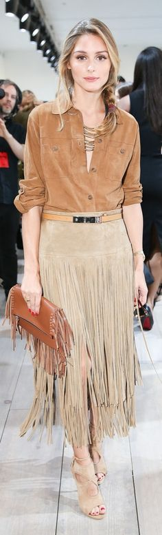 Olivia Palermo in suede and fringe street style