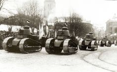 Estonian Renault on parade February 1925 Ww1 Tanks, Interwar Period, Military Pictures, World Of Tanks, Modern Warfare, Lithuania, Past, Battle, Army