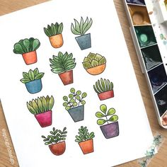 Ann Pellegrino (@spotgirldesign) • Instagram photos and videos Bullet Journal Notes, Bullet Journal Aesthetic, Bullet Journal Ideas Pages, Bullet Journal Inspiration, Cactus Drawing, Cactus Painting, Plant Drawing, Small Drawings, Doodle Drawings