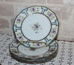Nippon hand painted collectable plate, decorative plate, wall decor plate, violet floral plate