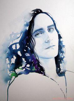 Loki Tom Hiddleston Fine Art Print of Original Watercolour by Kimberly Godfrey.