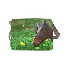 Horse and Grass Messenger Bag. FREE Shipping. #artsadd #bags #horses