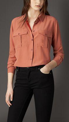 Pale redwood Military Silk Shirt - Burberry