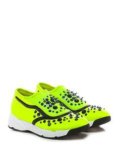 Uma parker - Sneakers - Donna - Sneaker in tessuto elasticizzato e retina con multi pietre e strass su tomaia. Inserti in pvc, suola in gomma, tacco 45, platform 25 con battuta 20. - YELLOW - € 119.00