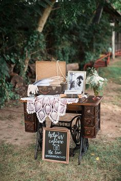 great grandmother's sewing table to display programs | Lindsay Campbell Photography | Glamour & Grace