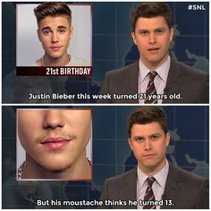 Happy belated, Justin Bieber. #SNL #WeekendUpdate