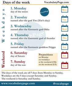 Days of the week #English www.vocabularypage.com