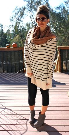 Oversized Stripe B Sweater + Tan/Caramel Scarf + Black Leggings + Grey/Gray Booties. My life for the next 9 months! Winter Dresses, Fall Winter Outfits, Winter Wear, Big Comfy Sweaters, Oversized Sweaters, Spring Summer Fashion, Autumn Fashion, Winter Maternity Outfits, Long Sweater Dress