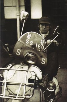The Kinks: Pete Quaife on scooter.