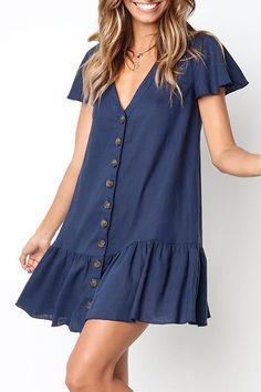 V-Ausschnitt Single Breasted Plain Kurzarm Mini Casual Kleider - Outfits Simple Dresses, Cute Dresses, Short Sleeve Dresses, Dresses With Sleeves, Summer Dresses, Mini Dresses, Short Casual Dresses, Simple Dress Casual, Awesome Dresses