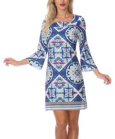 ac9a40496bd White Mark Blue   Pink Square Neck Dress. Cute Teacher Outfits3 4 Sleeve  DressDresses ...