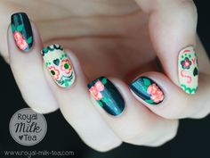 "Royal Milk Tea: Dia de los Muertos ""Sugar Skull"" Nail Art"