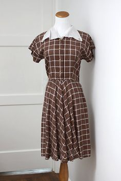 Vintage Brown and White Checkered Dress Small