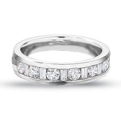 BAGUETTE DIAMOND BANDS FOR WOMEN | CT. T.W. Round and Baguette Diamond Channel Band in 14K White Gold ...