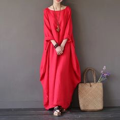 Red sun loose long dress cotton linen Causel women clothes