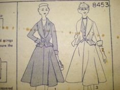 1951 Full Skirted Suit with Vest pattern Uncut 34-28-37