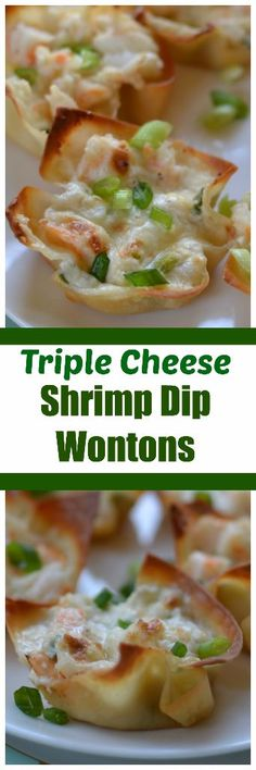 Triple Cheese Shrimp Dip Wontons I love appetizer type food. I love to prepare it, serve it and eat it. There are just so many amazing app. Finger Food Appetizers, Appetizer Dips, Appetizers For Party, Finger Foods, Appetizer Recipes, Party Snacks, Party Recipes, Dip Recipes, Party Party