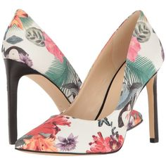 Nine West Tatiana (Off-White Floral Fabric) High Heels ($79) ❤ liked on Polyvore featuring shoes, pumps, high heel shoes, floral print pumps, floral print shoes, slip-on shoes and floral pumps