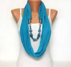 turquoise jewelry scarf -Want it! Scarf Necklace, Fabric Necklace, Scarf Jewelry, Fabric Jewelry, Collar Necklace, Beaded Jewelry, Beaded Necklace, Necklaces, Jewellery