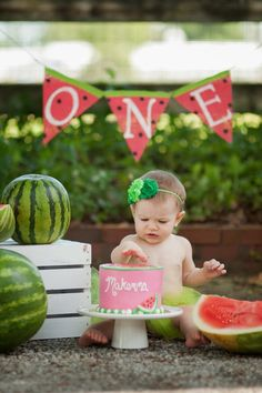 Watermelon One Burlap Banner / Bunting by TwoChikkadees on Etsy https://www.etsy.com/listing/234766812/watermelon-one-burlap-banner-bunting
