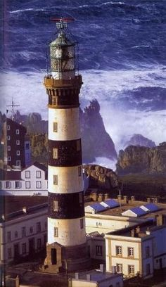Creac'h Lighthouse, Ushant, France. It is one of the most powerful in the world. It stands close to La Jument lighthouse and the Nividic lighthouse.