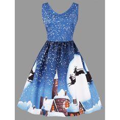 a7251cef71 Christmas Moon Print Sleeveless Plus Size Dress - Azure 2xl Mobile Moon  Print