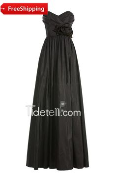 Exquisite Black A-line Sweetheart Floor Length Chiffon Bridesmaid Dress