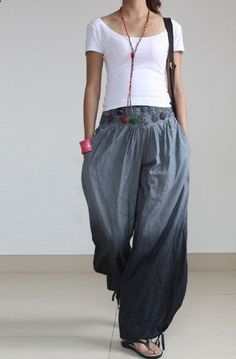 Casual, baggy at the bottom pants with cinched ankles.  gray pants wide leg pants fashion skirt pants linen pants. via etsy.