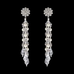 Multi-Drop Pearl & Crystal Earrings - Dazzling drop earrings that combine the softness of glass pearl with the glitter of Swarovski® crystals.  Assembled in USA.