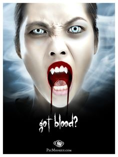 Consider home delivery if you've got bloodthirsty teens in the household!  All the blood you'll need can also be found at http://picmonkey.com/#go/themes/vampires.  Plus vampire fangs, cool fonts, and ridonkulous effects.  #halloween #vampires