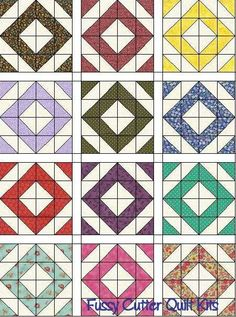 Scrappy Fabric Diamond Pattern Easy Pre-Cut Quilt Blocks Kit Sashing Added Pinwheel Quilt Pattern, Quilt Block Patterns, Pattern Blocks, Quilt Blocks, Half Square Triangle Quilts, Square Quilt, Cute Quilts, Easy Quilts, Jellyroll Quilts