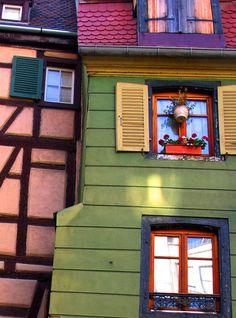 Colorful windows in Colmar, France