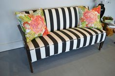Love the stripe and flower print combo - Jackson Settee by sprucehome on Etsy