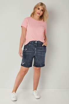 306d2fecd5c Yours Clothing Women s Plus Size Dark Denim Shorts with Butterfly Embroidery