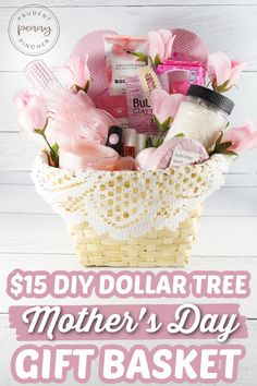 Diy Mother's Day Baskets, Diy Mother's Day Gift Basket, Easy Diy Mother's Day Gifts, Theme Baskets, Cheap Mothers Day Gifts, Mothers Day Baskets, Gift Baskets For Women, Themed Gift Baskets, Mother's Day Diy