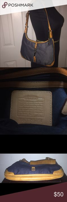 """COACH BAG COACH 8318 Denim & Leather Shoulder Bag  Dimensions: Approx. 10"""" Length x 1"""" Width x 6.5"""" Height; Exterior Material: Blue Denim Trim Material: Brown Leather; Interior Material: Dark Blue Color Fabric; Hardware: Silver Tone;Interior pockets: 1 zipper; Strap: 10"""" Drop;Pre-Owned Good Condition. Coach Bags Shoulder Bags"""