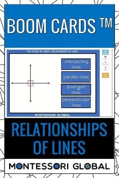 Montessori Geometry - Relationships of Lines Ideal for distance learning, this PowerPoint Presentation also includes self-correcting Boom Cards and printable 3 part Montessori nomenclature sets that include definition cards. Introduce relationships of lines in Geometry online or in the classroom. #montessori #distancelearning #geometry #relationships #lines #relationshipsoflines #PowerPoint #boomcards #nomenclature #definitions #interactive Geometry Online, Printable Cards, Printables, Types Of Lines, Browser Chrome, Montessori Math, Definitions, Distance, Relationships