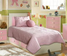 Annabelle Three Piece Bedding Set (Twin) by Universal Lighting and Decor. $119.91. This playful bedding ensemble creates a cheery motif for children's rooms. It features a circular pattern in baby pink. The 3-piece set includes a quilt, sham, and an accent pillow. Complete an inviting bedroom with this charming bedding set.