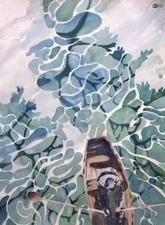 Rowing ashore by Aaron Gan #watercolorarts