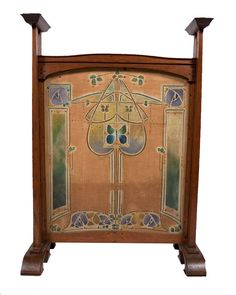 """Wylie and Lochhead - Firescreen. Wood Framed and Stencilled Linen Panel - Attributed to George Logan. Circa 1905. 35"""" x 26"""" x 11""""."""