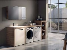 Mobile lavanderia componibile con specchio MAKE WASH 02 Collezione Make by LASA IDEA