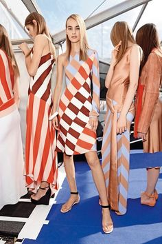 Entrhall passers-by with entrancing super-size stripes, whether they be vertical, horizontal, or a mix-match of both. Take inspiration from the spring/summer 2016 catwalks with Vogue's round-up of the stripes trend.