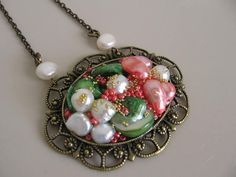 Victorian Style Pearl Necklace by pattimacs on Etsy